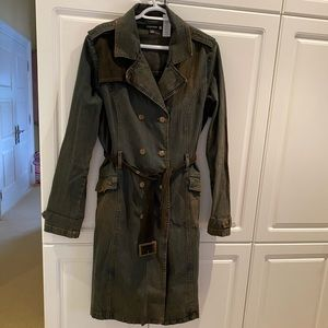 Golding London Black Denim Trench Coat Size 12US